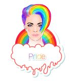 Portrait of a young pretty woman with short pixie haircut. Rainb. Ow colored hair. LGBT concept. Vector illustration isolated on white. Hand drawn art of a Stock Images