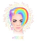 Portrait of a young pretty woman with short pixie haircut. Rainb. Ow colored hair. LGBT concept. Vector illustration isolated on white. Hand drawn art of a Stock Photography