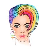 Portrait of a young pretty woman with short pixie haircut. Rainb. Ow colored hair. LGBT concept. Vector illustration isolated on white. Hand drawn art of a Royalty Free Stock Photography