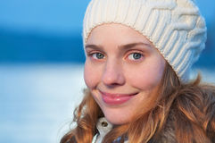 Portrait of a young pretty woman at winter Royalty Free Stock Image