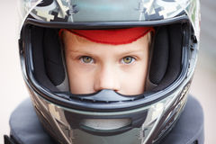 Portrait of young racer in helmet Stock Photography