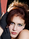 Portrait of a young red headed woman. Full fface Portrait of a young red headed woman with blue eyes Stock Photos