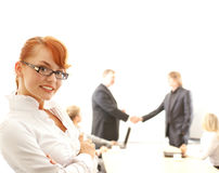 Portrait of a young redhead business woman Stock Image