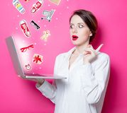 Redhead businesswoman with laptop Royalty Free Stock Photo