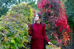Portrait of young redhead woman in red coat. At garden neat wild grape stock images