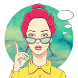 Portrait of young redheaded girl in glasses Stock Photo