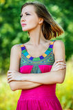 Portrait of young reflective woman Royalty Free Stock Images