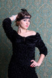 Portrait of young retro woman Royalty Free Stock Photos