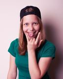 Portrait of the young rock teen girl Stock Photo