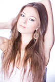 Portrait of young romantic woman with long h. Portrait of young romantic woman with long brown hair Stock Images