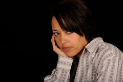 Portrait of young sad woman royalty free stock photography