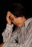 Portrait of young sad woman stock photos