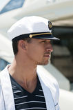 Portrait of a young sailor. Close up to profile portrait of a young sailor Royalty Free Stock Image