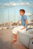 Portrait of young sailor near yacht Royalty Free Stock Photos