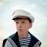 Portrait of young sailor near yacht Stock Photo