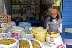 Portrait of young salesgirl of groceries on market. Bolivia, city of Oruro, Indian girl sells eggs, flour and other foodstuffs in a kind of container on a market Stock Images