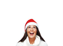 Portrait of young santa woman thinking Stock Photos