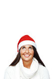 Portrait of young santa woman thinking Royalty Free Stock Photo