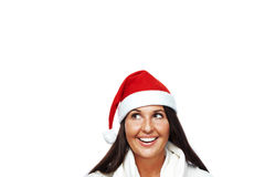 Portrait of young santa woman thinking Stock Photo