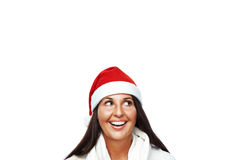 Portrait of young santa woman thinking Royalty Free Stock Images