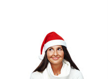 Portrait of young santa woman thinking Stock Images