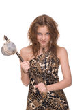 Portrait of young savage woman with stone hammer. Closeup portrait of young savage woman with stone hammer Stock Photography