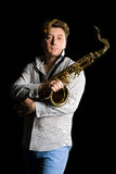 Portrait of a young saxophonist Stock Images