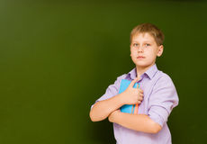 Portrait of young schoolboy near chalkboard Stock Images