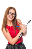 Portrait of a young secretary with glasses closeup Stock Image