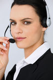 Portrait of a young secretary with headset Stock Photography