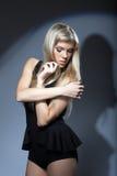 Portrait of young seductive blonde, close-up Stock Photos