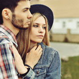 Portrait of young sensual couple outdoor Royalty Free Stock Image