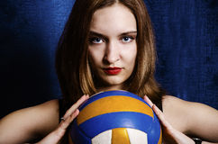 Portrait of a young girl with a ball Royalty Free Stock Image