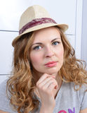 Portrait of young serious looking woman royalty free stock images