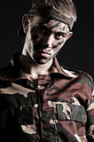 Portrait of young serious soldier Stock Image