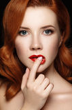 Portrait of young sexual redhead naked girl Stock Images