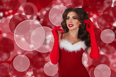 Portrait of young, sexy and beautiful woman in christmas dress. Christmas, xmas, x-mas and winter concept. Stock Photo