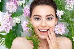 Portrait of woman taking spa bath. Skin beauty health care concept Royalty Free Stock Photo