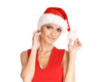 Portrait of young, female Santa Royalty Free Stock Photography