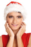 Portrait of a young, female Santa Stock Image
