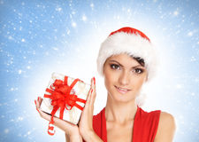 Portrait of young, sexy female Santa Royalty Free Stock Photo