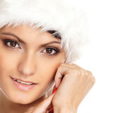 Portrait of a young, sexy female Santa Stock Images