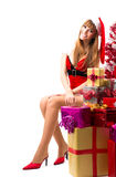 Portrait of young, sexy female Santa Royalty Free Stock Images