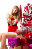 Portrait of young, female Santa Royalty Free Stock Photo