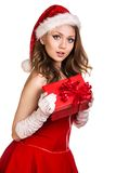 Portrait of young, female Santa Royalty Free Stock Images