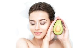Portrait of woman taking spa bath. Skin beauty health care concept Royalty Free Stock Photos