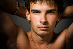 Portrait of young sexy man Stock Images