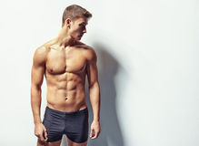 Portrait of a young sexy muscular man Royalty Free Stock Images