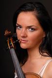 Portrait of young musician woman with violin Royalty Free Stock Photos