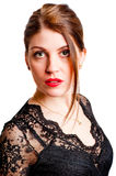 Portrait of young sexy woman in black dress Royalty Free Stock Images